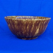 Pottery Mixing Bowl with Rockingham Glaze