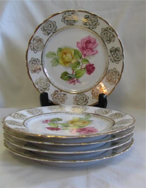 Set of Five P S Germany Dessert Plates