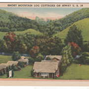 Smoky Mountain Log Cottages Bryson City NC North Carolina Vintage Postcard