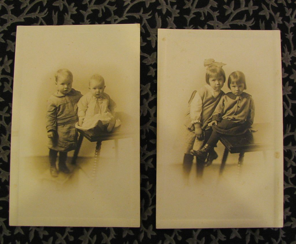 Two Real Photos of Children and Table Postcards AZO