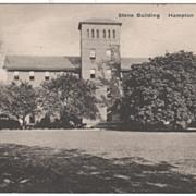 Stone Building Hampton Institute VA Virginia Postcard - Dated 8/26/37
