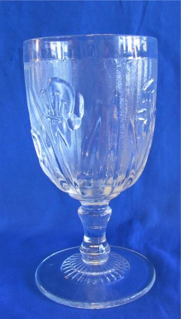 Jeannette Iris & Herringbone Goblet 5 1/2 inch 8 ounce