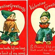 Two Valentine Postcards with Dutch Boys