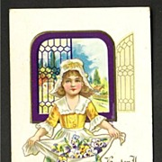 Dutch Girl with Apron Full of Pansies Easter Postcard