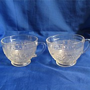 Two Sandwich Punch Cups Crystal Color Anchor Hocking