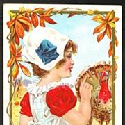 Thanksgiving Postcard Pretty Girl with Turkey