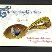 Thanksgiving Postcard of a Turkey in a Baby Spoon Bowl