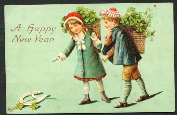 New Year Postcard Children Collecting Shamrocks