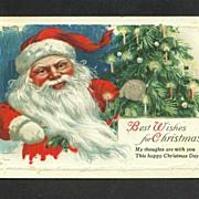 Christmas Postcard Santa with Candlelit Christmas Tree