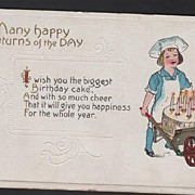 SOLD Birthday Postcard Child Chef with Birthday Cake in Wheelbarrow