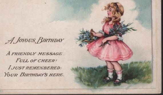 A Joyous Birthday Postcard Girl in Pink