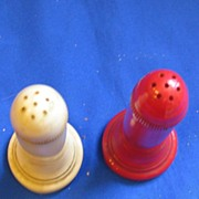 1950s Red and White Rockets Salt and Pepper Shakers