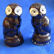 Ceramic Brown Owls Salt and Pepper Shakers Japan