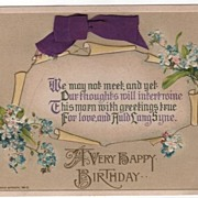 John Winsch A Happy Birthday Postcard Purple Ribbon