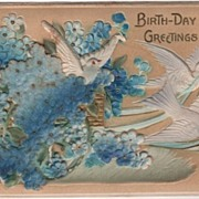 Heavy Embossed Birthday Greetings Postcard Doves and Forget-me-nots