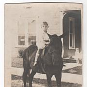 RPPC AZO Willis Leon Williams 4 Years 9 Months on a Horse Vintage Postcard