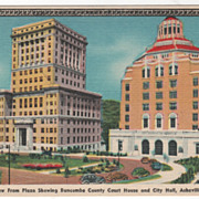 View Buncombe Co Court House & City Hall Asheville NC North Carolina Vintage Postcard