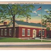 United States Post Office Brevard NC North Carolina Vintage Postcard