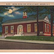 United States Post Office at Night Brevard NC North Carolina Vintage Postcard