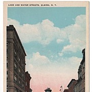 Lake and Water Streets Elmira New York NY Postcard