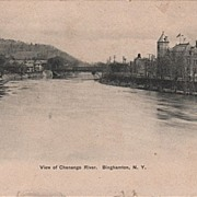 View of Chenango River Binghamton NY New York Postcard