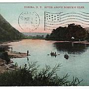 River above Roricks Glen Elmira New York NY Postcard