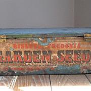 Antique Garden Seeds Box, Blue Paint, Paper Label, Mid-19th C.