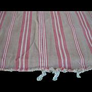 REDUCED Antique Mattress Ticking, Red/Beige Stripes
