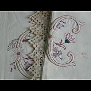 Antique Victorian Fancy Sheet Set, Pillow Shams Pair, Monogram