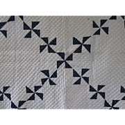 Mid-Late 19th C. Antique Indigo Pinwheels Quilt, PA