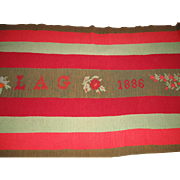 19th C. Wool Embroidery Coverlet, Knitted, Dated & Signed