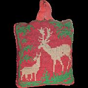 19th C. Animal Folk Art Pin Cushion, Needlepoint Deer Family