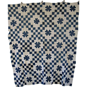 Antique Applique Indigo Calico Hearts Quilt TOP