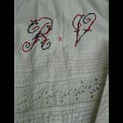 Antique Victorian Eyelet Fancy Linen Sheet Set/3 Shams, Monogram
