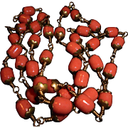 SALE Art Deco Coral Glass Gilt Bead Sautoir Necklace