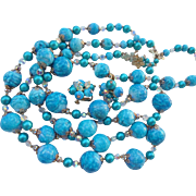 SALE Rare! Massive Vendome Runway Powder Blue Crystal & Blue Bead Necklace Set