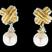 SALE TIFFANY 18K Gold Diamond Cultured Pearl Signature X Earrings