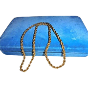 SALE 14K Solid Yellow Gold European Rope Chain Necklace