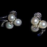 SALE 14K Diamond Cultured Pearl Shamrock Screwback Earrings