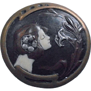 SALE Art Nouveau Sterling Enamel Nymph Portrait Brooch