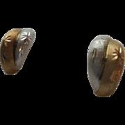 SALE 14K Two-tone Snowflake Motiff Pierced Earrings