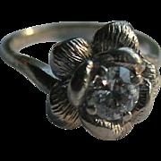 Antique 14K Gold Diamond Transitional Cut Sculptural Solitaire Ring Size 5.5
