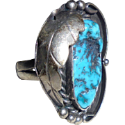 925 BW Navajo Billie Willis Sterling Silver & Turquoise Squashblossom Ring Size 6 3/4