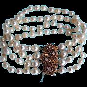 SALE 14K Diamonds Rubies Baroque Cultured South Sea Pearls Bracelet