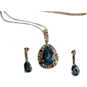 SALE 14K Gold London Blue Topaz Gemstone Pendant Necklace & Earrings Set