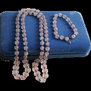 SALE 14K Gold & Rose Pink Quartz Beaded Bracelet & Necklace Set