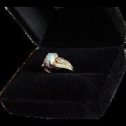 SALE 10K Gold Diamond & Fiery Opal Ring Size 6.25