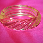 SALE High-End Mid-Century Lucite Bangle Bracelet Tapered Elongated Rings Design
