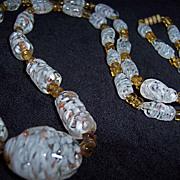 SALE Vintage Murano Glass Bead Confetti Necklace White Red Accents