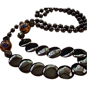SALE High-End Hematite Gold-Plated Cloisonne Disc Beaded Necklace
